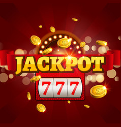 Jackpot 777 gambling poster design Money coins vector image