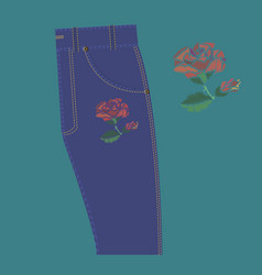 rose embroidery on jeans vector image vector image