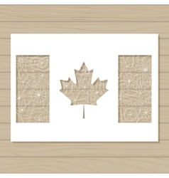 stencil template of canada flag on wooden vector image vector image