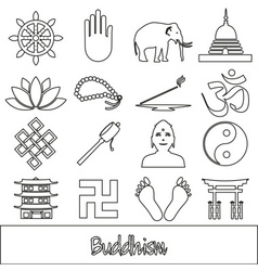 buddhism religions outline symbols set of icons vector image vector image