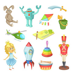 cartoon set of toys for kids boys and girls funny vector image vector image
