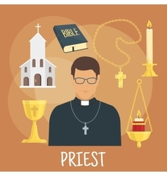 Catholic priest with religious symbols flat style vector image