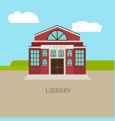 colored urban municipal library building vector image vector image