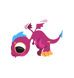 cute baby dragon in flying action mythical purple vector image