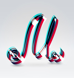 Fantasy plastic 3d glowing ribbon typeface vector image vector image