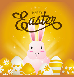 happy easter typography cartoon charactor vector image vector image