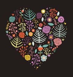 heart shape floral dark background vector image vector image