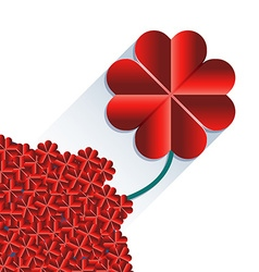 Red heart flower with long shadow vector image