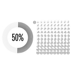 set of circle percentage diagrams from 0 to 100 vector image
