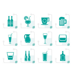 stylized different kind of drink icons vector image