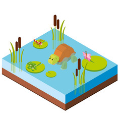 3d design for animals in the pond vector