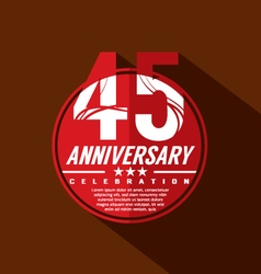 45 Years Anniversary Celebration Design vector image