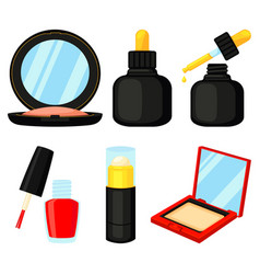 8 colorful cartoon cosmetic elements vector image