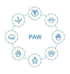 8 paw icons vector