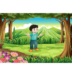 a lost young man in middle forest vector image