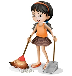 A young girl sweeping vector