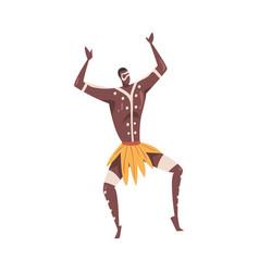 African ritual dance man dancing wearing vector