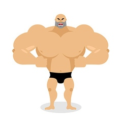 Angry Muscled Aggressive bodybuilder on white vector