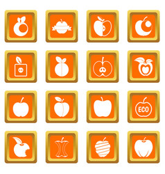 apple icons set orange vector image