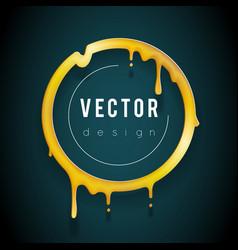 art melting golden frame 3d flowing flux circle vector image