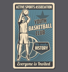 Basketball player with ball sport game club vector