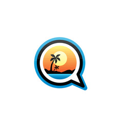 beach summer holidays chat sign symbol vector image
