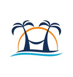 beach travel holiday logo design template vector image