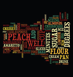 Best recipes amaretto peach cheesecake text vector