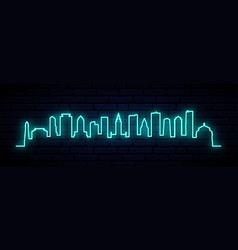 blue neon skyline of miami city bright miami vector image