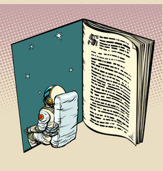 Book and astronaut science fiction vector