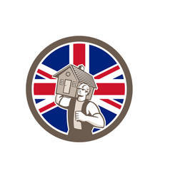 British house removal union jack flag icon vector