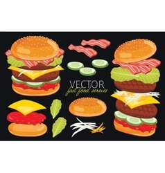 Burgers isolated on black background vector
