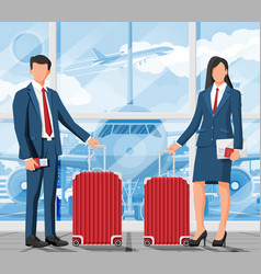 business woman and man with travel bag vector image