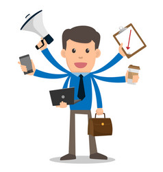 businessman happy with multitasking and multi vector image