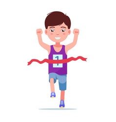 cartoon boy running and winning a marathon vector image