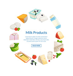 cartoon dairy and cheese products in circle vector image