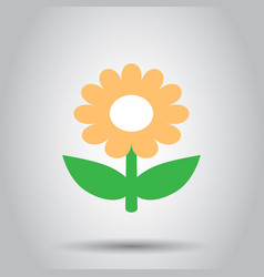 Chamomile flower icon in flat style daisy on vector