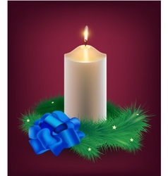 christmas card burning white candle vector image