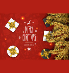 christmas compositionon on red background vector image