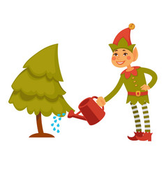 Christmas elf in festive clothes waters conifer vector