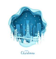Christmas philadelphia in the snow paper city vector