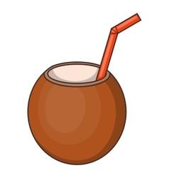 Coconut cocktail icon cartoon style vector