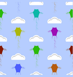 Colored kites flying in blue sky with sun and vector
