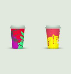 Creative watercolor coffee cup set vector