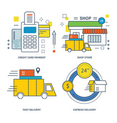 credit card payment shop store express delivery vector image