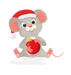 Cute christmas rat or mouse holds new year ball in vector