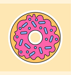 Cute fashion patch with doughnut with pink topping vector