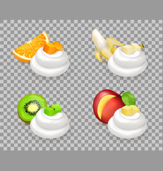 delicious tropical fruits and whipped cream swirls vector image