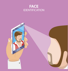 Facial recognition system flat isometric vector
