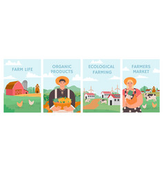 Farm posters agriculture field agronomy vector